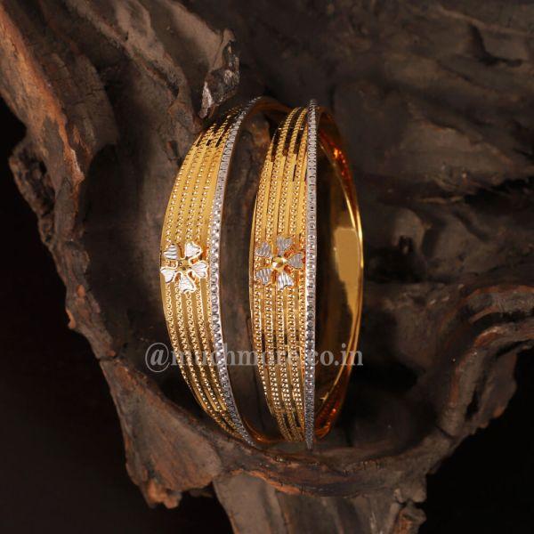 Flower Embossed Silver Gold Bangle Set For Women