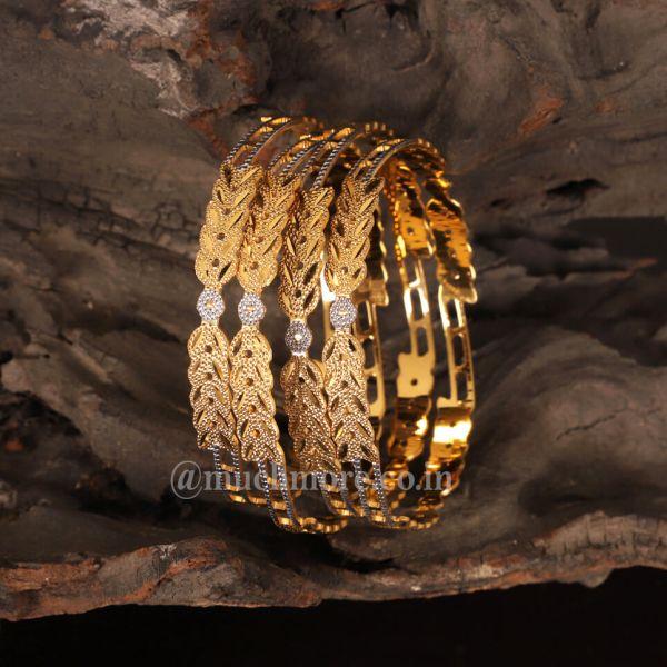 Gold Plated Filigree Design Bangles For Girls