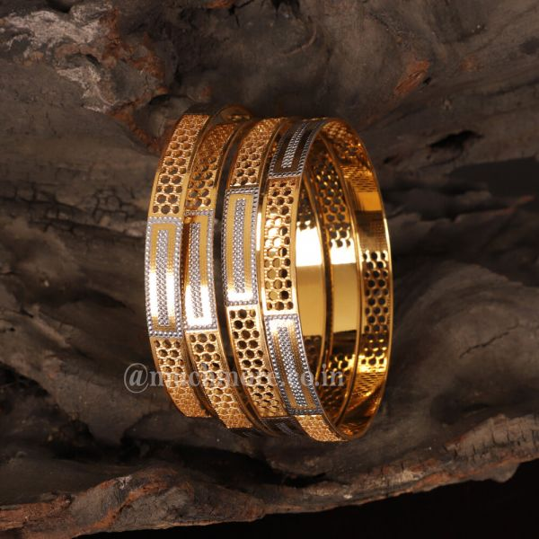 Bangles Embossed Gold Silver Bangles for Women and Girls