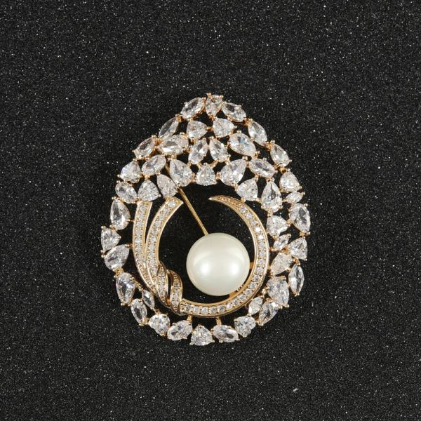 Fashion Zircon Pearl Brooch