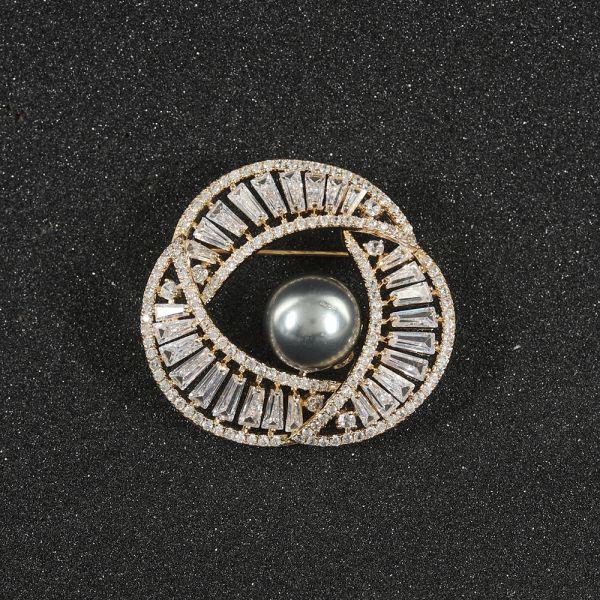 Fashion Zircon Pearl Brooch