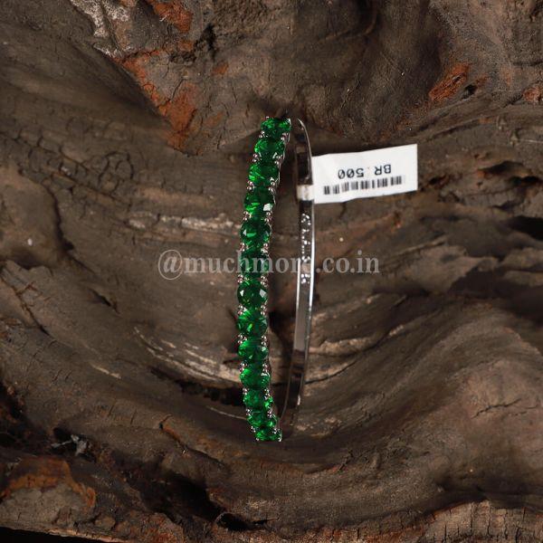 Sterling Silver Simulated Emerald Diamond Bracelet