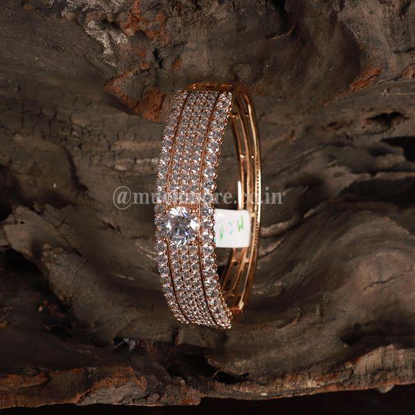 Rose Gold Polish with Ad Diamond Setting Designer Bracelet