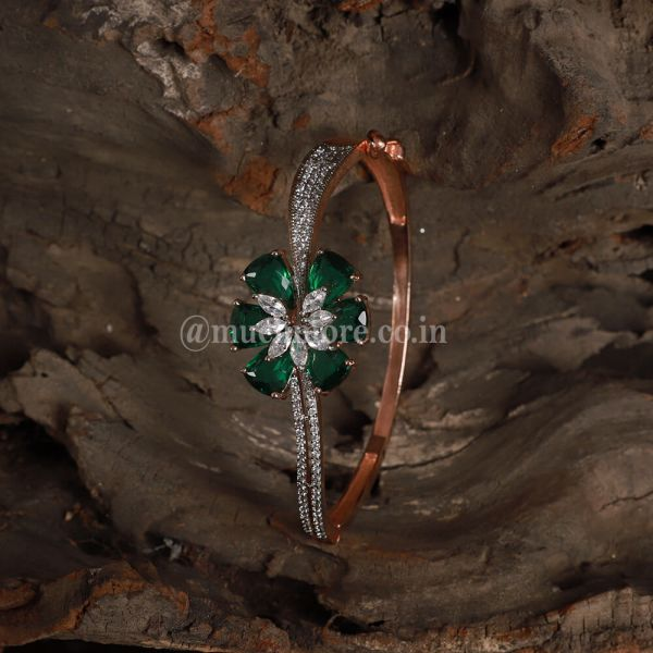 Rose Gold With Emerald Green Bracelete For Girls