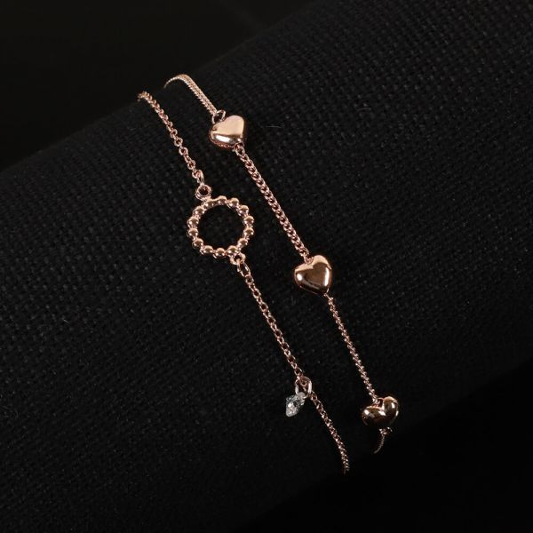 Rose Polish Two Layered Heart Fashion Bracelet