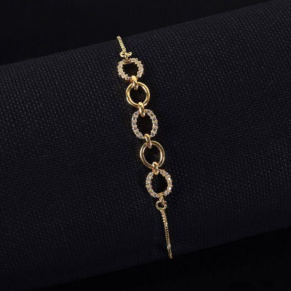 Loop In Sink Flexible Gold Polish Diamond Bracelet