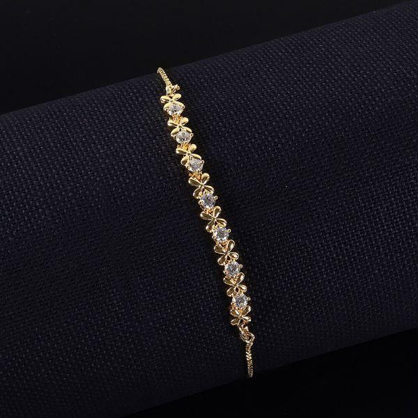 Floral Pattern Flexible Gold Polish Bracelet For Girls
