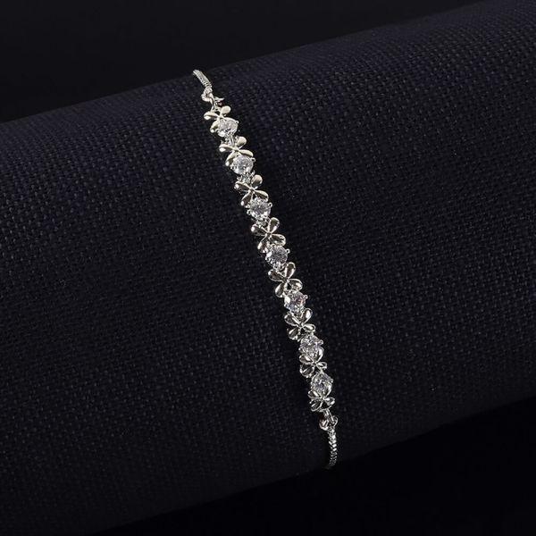 Floral Pattern Flexible Silver Polish Bracelet For Girls