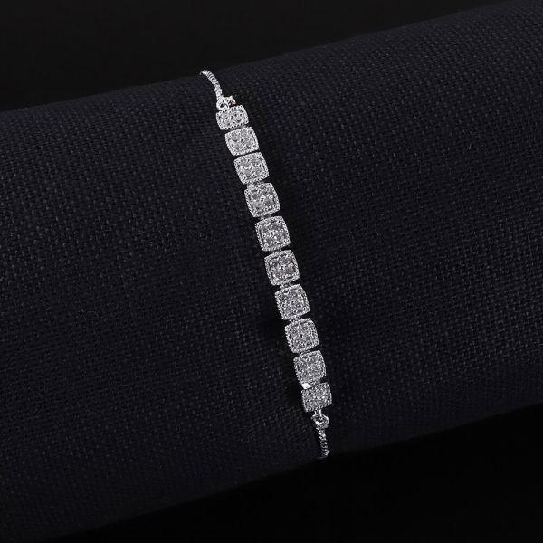 Silver Polish Flexible Diamond Bracelet
