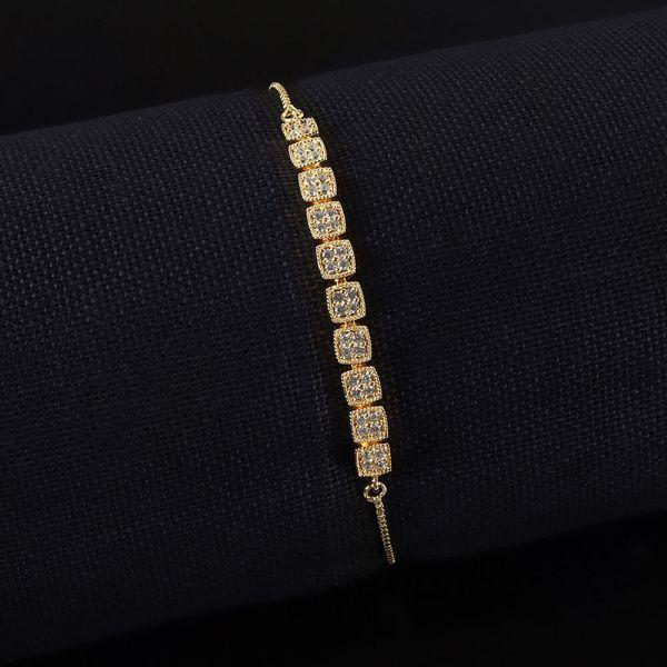Gold Polish Flexible Diamond Bracelet