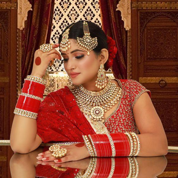 Kundan meenkari Bridal Necklace With Paasa