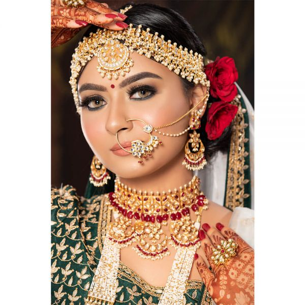 Bridal Jewellery With Long Necklace Choker And Mathapatti