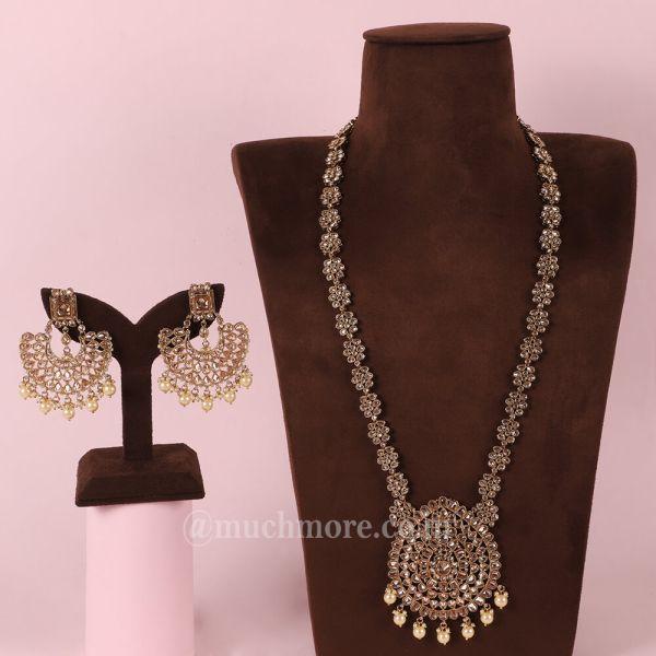 Antique Gold  Pendant Look Long Necklace For Bride