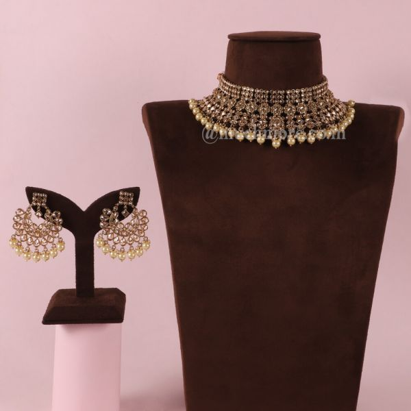 Pearl Drop Gold Look Choker Necklace For Bride