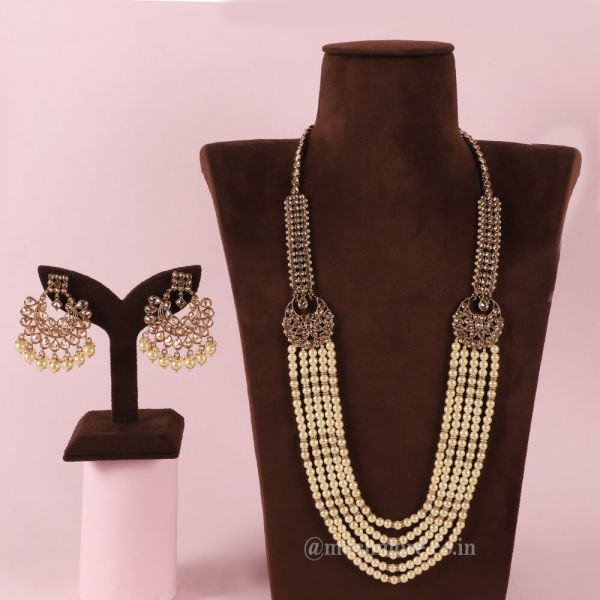 Pearl String Long Haram Necklace For Indian Bride