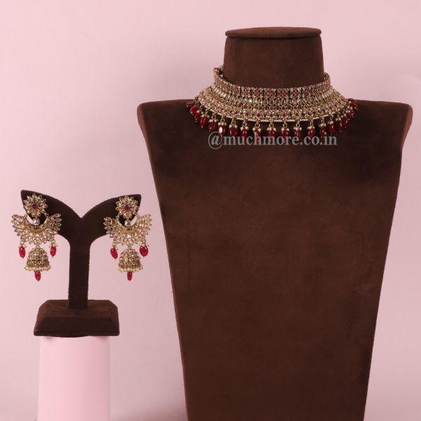 Designer Ruby Color Gold Look Choker Necklace For Bride
