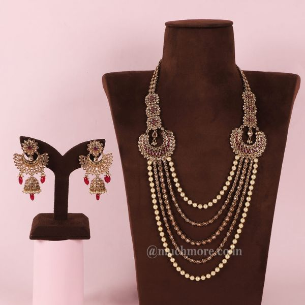 Ruby And Gold Layered Long Haram Mala With Earrings