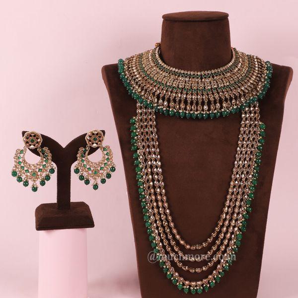 Emerald Green Bridal Choker With long Necklace (Haram)