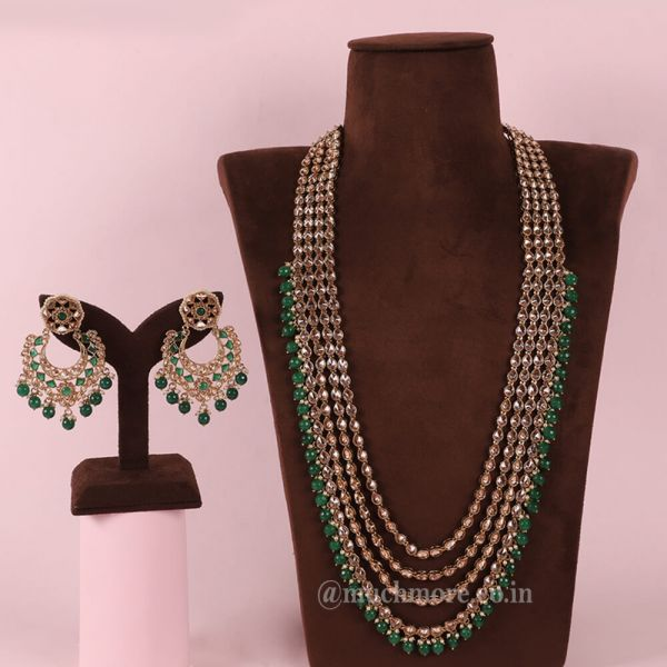 Emerald Green Long Layered Chain Mala For Bride