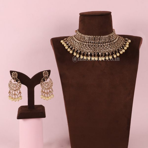 Choker Necklace & Earrings Set With Pearl Drop