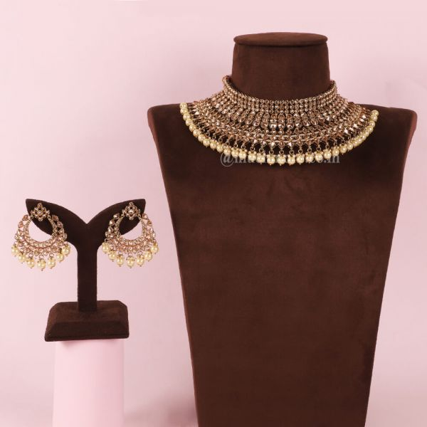 Gold Tone & Pearls Bridal Choker Necklace Set