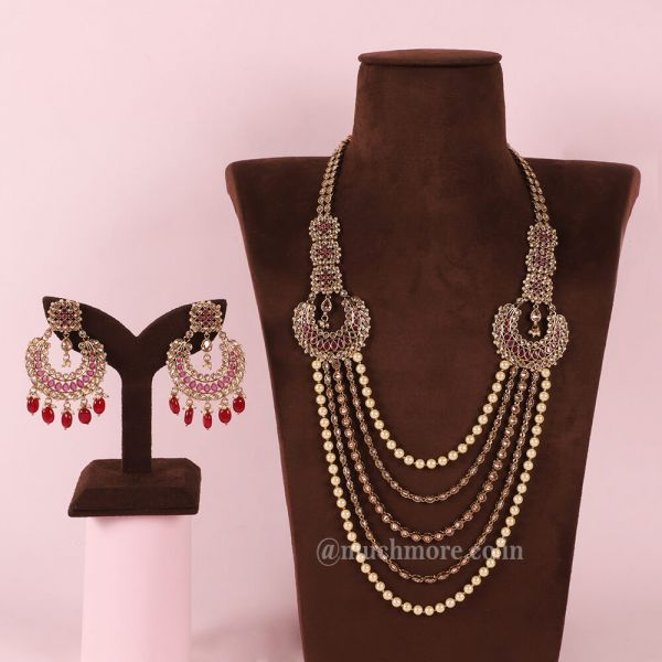 Ruby Traditional Multi-Layered Beaded Long Mala Necklace