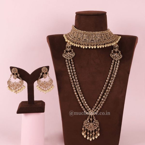 Classic Gold Tone Bridal Jewelry With All Accessories