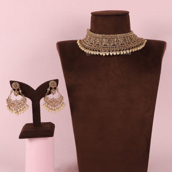 Wedding Jewelry Choker Necklace In Gold Polish