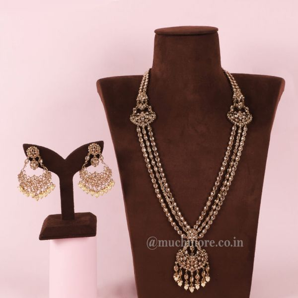 Antique Gold Long Layered Chain Mala For Wedding