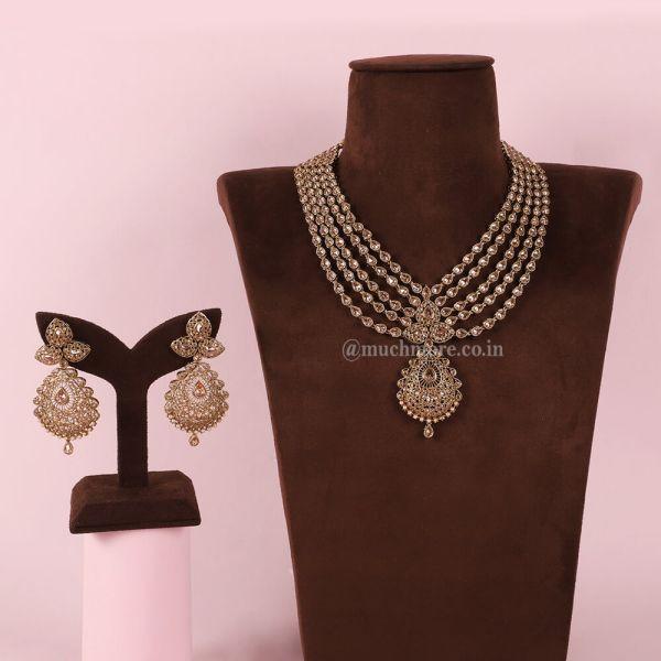 Multi layered Antique Gold Bridal Necklace Set
