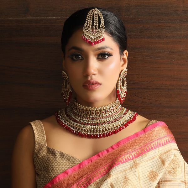 Designer Ruby Color Bridal Choker With Earrings And Big Tikka