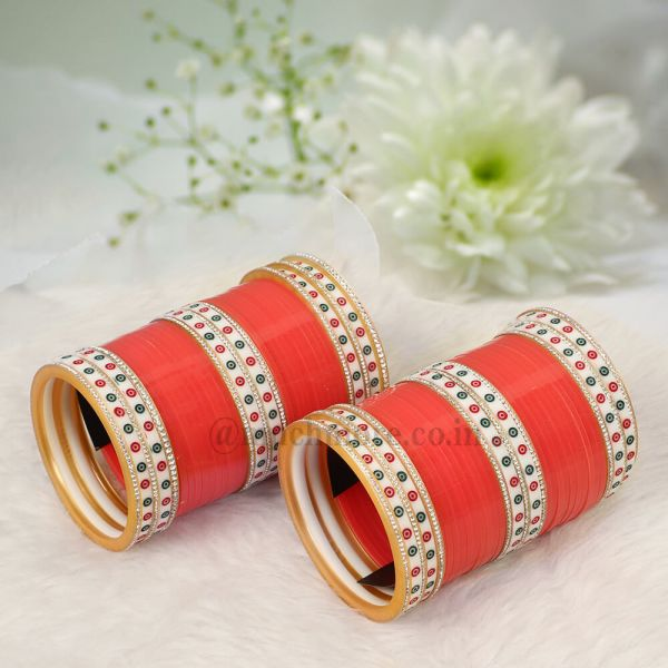 Red Green Dotted Bridal Chuda By Much More