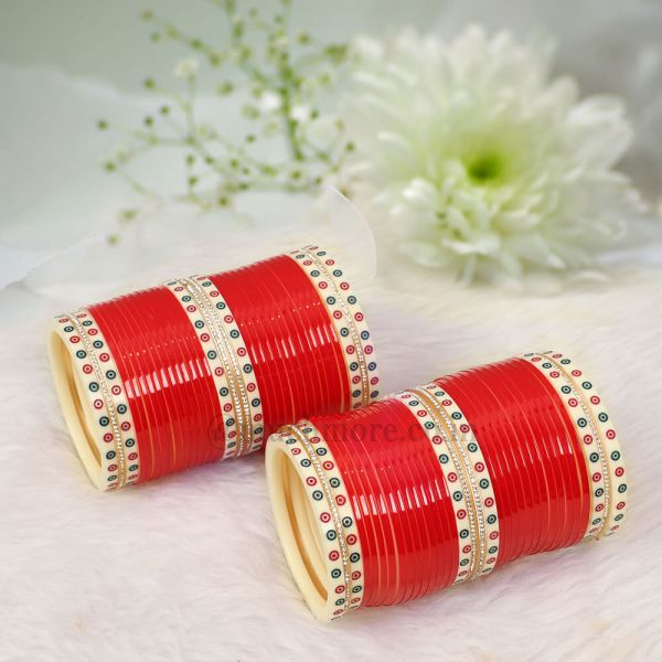 Simple Nice Red Bangle Chura For Bride