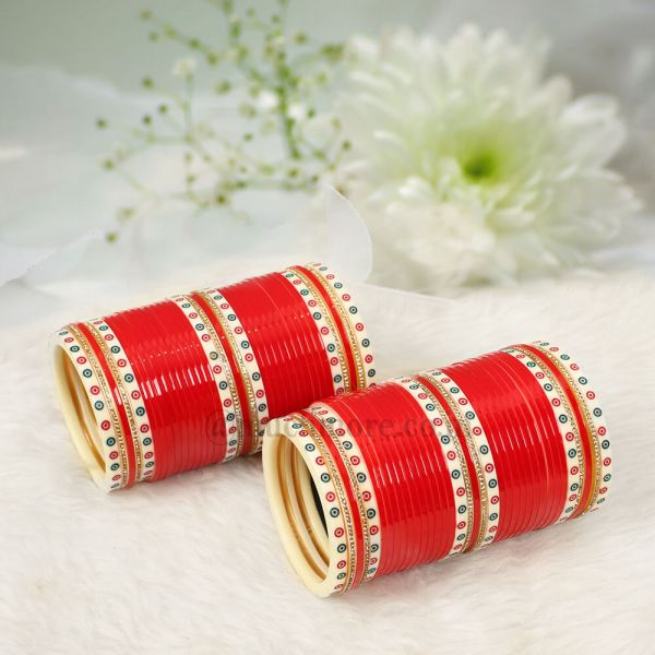 Dotted Red Indian traditional  Bridal Chooda
