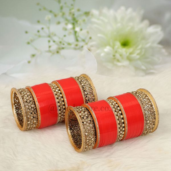 Red Bridal Chura With Pearl And Antique Kangans