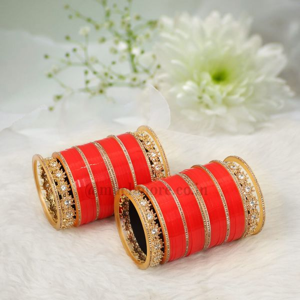 Red Bridal Chuda With Diamond Bangles