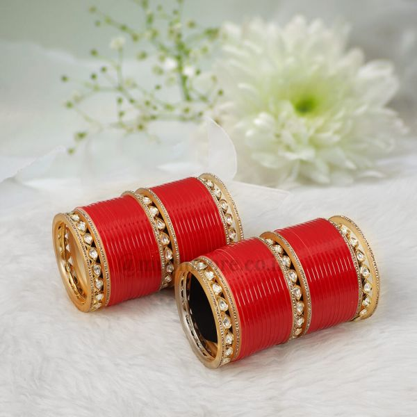 Punjabi Wedding chura With Kundan Bangles