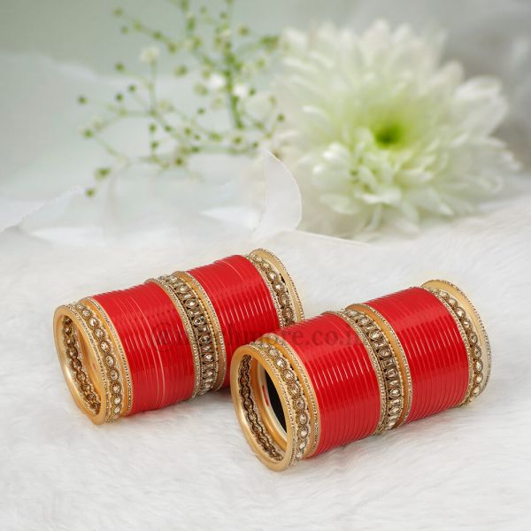 Red Bridal Chura With Pearl And Antique bangles