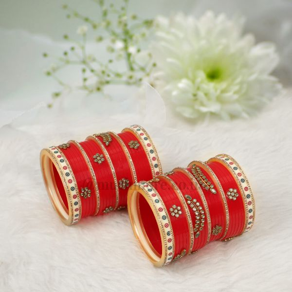 Rajasthani Style Red Bangle Chura Set