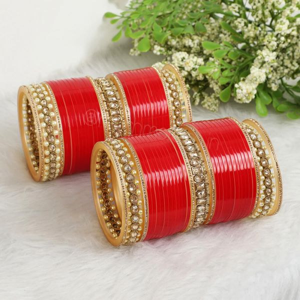 Red Chura With Antique Gold Bangles