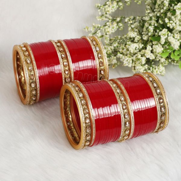 Dark Red Chura With Antique Gold Bangles