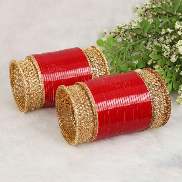 Designer Diamond Bangles Chura For Bride