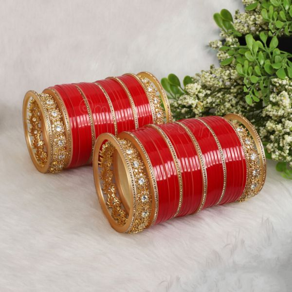 Simple Red Chura For Indian Bride