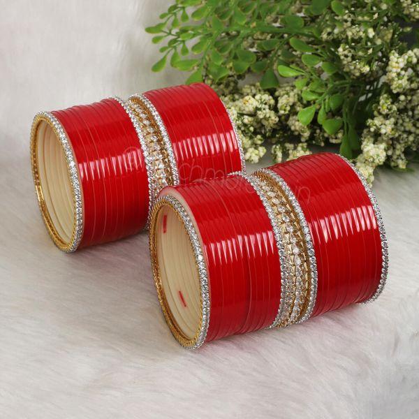 Red Chura With Designer Diamond Bangles