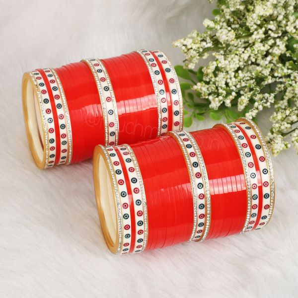 Sharp Red Chura With Dotted Bangles For Indian Bride