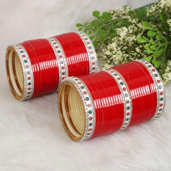 Red Bridal Chura For Bride With Gold Polish AD Bangles