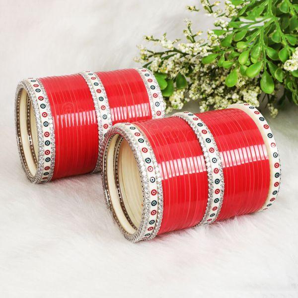Red Bridal Chura For Bride With Sillver Polish AD Bangles