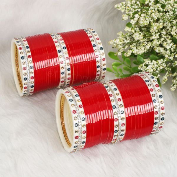 Red Wedding Chura With Dotted Bangles For Bride