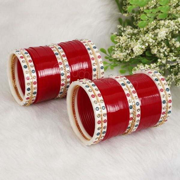 Red And Gold Wedding Chura With Dotted Bangles For Bride