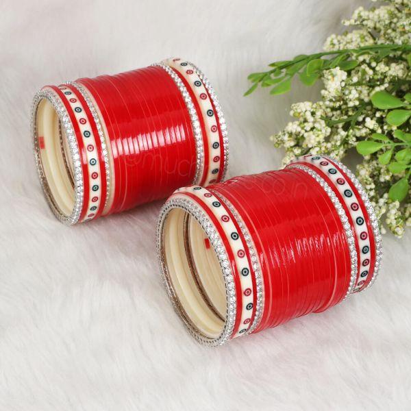 Red Wedding Bridal Chura With Silver AD Bangles